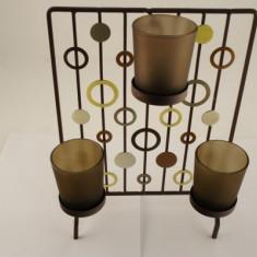 Sfesnic metal patrat cu cercuri si 3 boluri