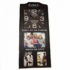 Family-ceas din lemn cu rame foto Black - Ceas desteptator
