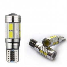 SET T10, 10 LED 5630 SMD cu lupa in varf 12V. CANBUS. Produs LUX