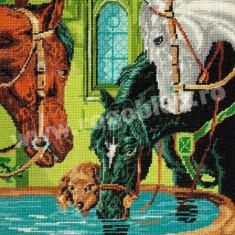 Caii - goblen cu diagrama alb/negru - Broderie