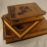 Caseta 3 carti lemn