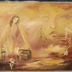 Teofil Baciu Femeia o Arta tablou 2002 pictat in ulei pe panza 36x44 cm - Pictor roman, Istorice, Impresionism