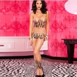 Lenjerie Lady Lust Sexy Ciorapi Bodystocking Fishnet Model Stocking Dres Open, Marime: M, Culoare: Bej, Nude