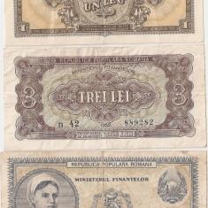 ROMANIA 1, 3, 5, 10, 25, 100 LEI 1952 - pret per lot - Bancnota romaneasca