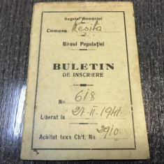 Buletin de înscriere-comuna: Resita anul 1941 - Pasaport/Document, Romania 1900 - 1950