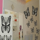 Sticker decorativ 5D, model Fluture 3set, negru