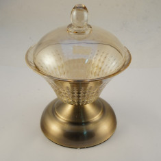 Bomboniera cu capac sticla fumurie picior metalic - Vaza sticla