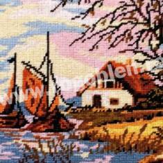 Barci cu vele, toamna - goblen cu diagrama alb/negru - Broderie