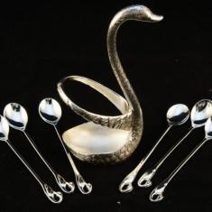 Set lebada cu 6 furculite sau linguri gravate - Set Swarovski