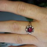 Inel aur alb cu rubin și diamante - Inel diamant, Carataj aur: 14k