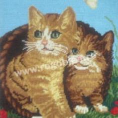 Cos cu pisicute - goblen cu diagrama alb/negru - Broderie