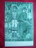 Ilustrata -Caricatura -2 buni amici : dracul si Preotul , semnat ,J.le Tanneur