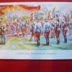 Ilustrata Litografie - 14 iulie 1880 - Impartirea drapelelor cca.1900, semnat P, Necirculata, Printata