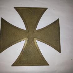 Cruce de fier, veche, germana, blazon, din bronz, masiv