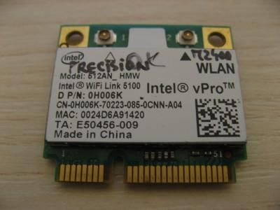 Placa wireless Dell Precision M2400, Intel WiFi Link 5100, 512AN_HMW, 0H006K foto