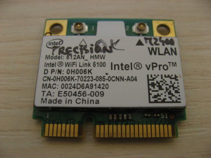Placa wireless Dell Precision M2400, Intel WiFi Link 5100, 512AN_HMW, 0H006K