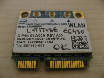 Placa wireless Dell Latitude E6430, Centrino Ultimate-N 6300, 633ANHMW, 04W00N foto