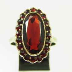 Inel vintage aur 14k pietre granat reducere - Inel diamant, Culoare: Galben