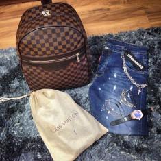 Rucsac/ghiozdan/geanta de sala/scoala/voiaj Louis Vuitton Damier Ebene !!! - Geanta Barbati Louis Vuitton, Marime: One size, Culoare: Maro, Geanta de sold, Piele
