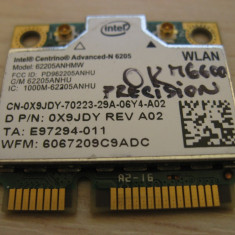Placa wireless Dell Precision M6600 Centrino Advanced-N 6205, 62205ANHMW, 0X9JDY