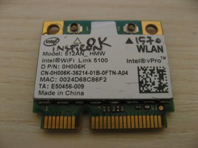 Placa de retea wireless Dell Inspiron 1570 Intel WiFi Link 5100 512AN_HMW 0H006K foto
