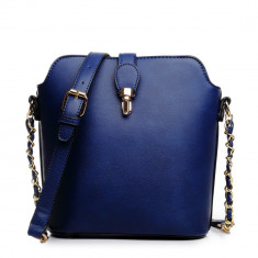 Geanta dama tip postas bucket navy - Geanta albastra de umar Lulu, Culoare: Albastru, Marime: Masura unica, Geanta stil postas, Asemanator piele
