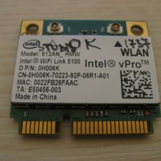 Placa de retea wireless Dell Studio 1737, Intel WiFi Link 5100, 512AN_HMW 0H006K