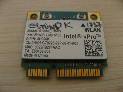 Placa de retea wireless Dell Studio 1737, Intel WiFi Link 5100, 512AN_HMW 0H006K foto