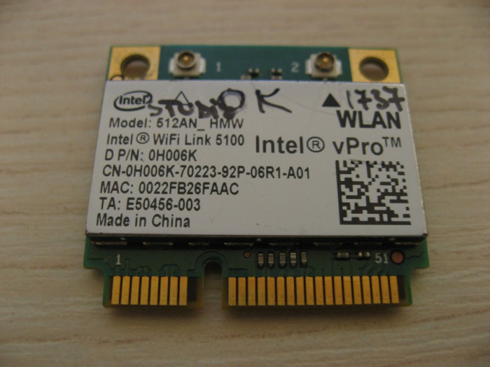 Placa de retea wireless Dell Studio 1737, Intel WiFi Link 5100, 512AN_HMW 0H006K