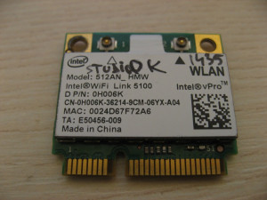 Placa de retea wireless Dell Studio 1435, Intel WiFi Link 5100, 512AN_HMW 0H006K