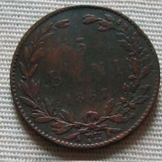 M. 5 bani 1867 Watt - Moneda Romania