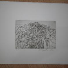 GRAVURA HARRY GUTTMAN - Pictor roman, Abstract, Cerneala