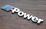 Stiker emblema auto metal  pentru BMW M power sport adeziv profesional inclus