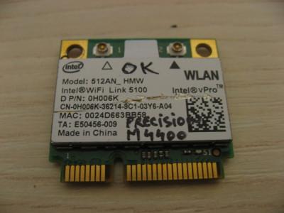 Placa wireless Dell Precision M4400, Intel WiFi Link 5100, 512AN_HMW, 0H006K foto