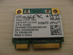 Placa de retea wireless Dell Studio 1745, Intel WiFi Link 5100, 512AN_HMW 0H006K