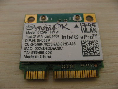 Placa de retea wireless Dell Studio 1745, Intel WiFi Link 5100, 512AN_HMW 0H006K foto