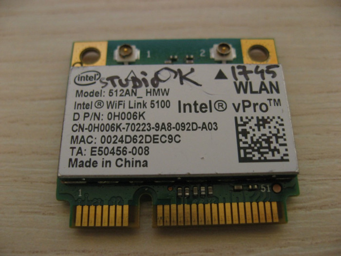 Placa de retea wireless Dell Studio 1745, Intel WiFi Link 5100, 512AN_HMW 0H006K