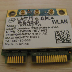 Placa wireless Dell Latitude E6420, Centrino Ultimate-N 6300, 633ANHMW, 04W00N