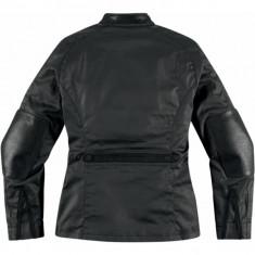 Geaca moto dame, piele Icon Akorp, neagra - Imbracaminte moto