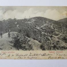 Carte postala circulata 1903 cu puturile petrolifere de la Stoinesti-Bacau