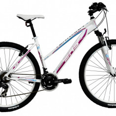 Bicicleta DHS Terrana 2722 (2016) Culoare Alb/Roz 420mm - Mountain Bike DHS, 16.5 inch