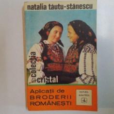 APLICATII DE BRODERII ROMANESTI de NATALIA TAUTU - STANESCU, 1972 - Carte Fabule