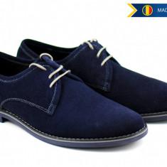 Pantofi barbati casual - eleganti din piele naturala intoarsa bleumarin - 336BLU - Pantof barbat, Marime: 38, 39, 40, 41, 42, 43, 44