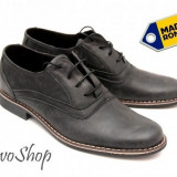 Pantofi barbati piele naturala (negru patinat) casual-eleganti - Made in Romania - Pantof barbat, Marime: 37, 38, 39, 40, 41, 42, 43, 44