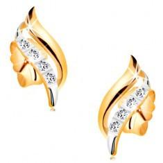 Cercei din aur 14K - luciosi, bicolori, linie de zirconii transparente - Cercei aur