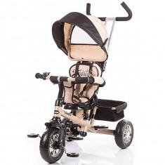 Tricicleta Cu Copertina Si Sezut Reversibil Chipolino Twister Beige Black - Tricicleta copii