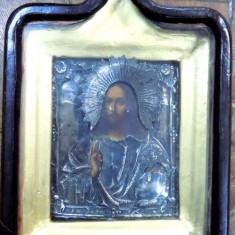 Iisus Pantocrator, Icoana Ruseasca cu ferecatura din argint marcat 84, datat 1866 - Pictor roman