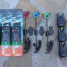 Set 3 Avertizori Senzori FL Gen Jrc + 3 Swingeri Iluminare Mk3 MKM3 Black - Avertizor pescuit, Swingere