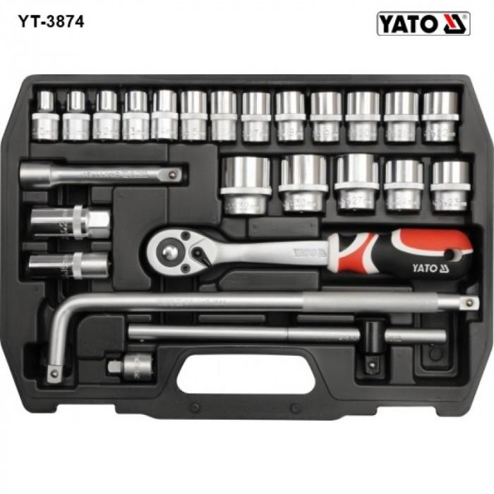 """Trusa chei tubulare cu antrenor 1/2"""" Yato YT-3874 foto mare"""