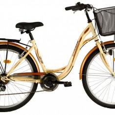 Bicicleta DHS Citadinne 2634 (2016) Culoare Crem/Negru/Maro 430mm - Bicicleta de oras